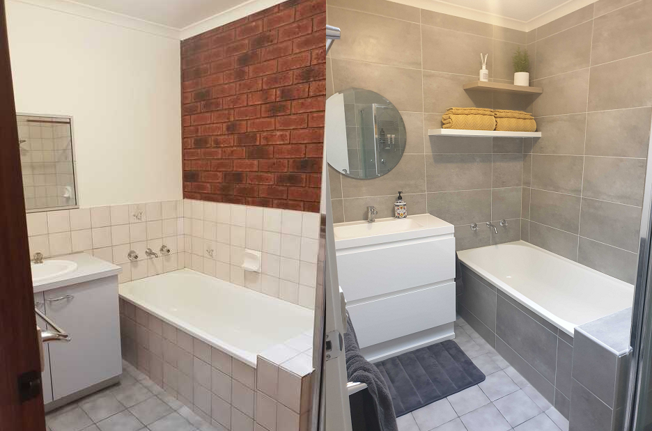 1980s duplex unit bathroom renovation before and after werribee