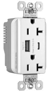 Power outlet with integrated USB ports