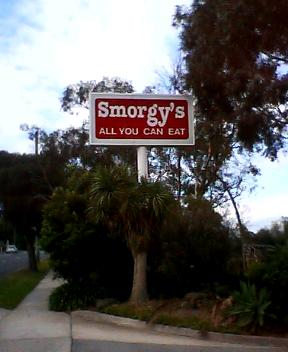 Smorgys all you can eat sign