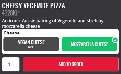 cheesy vegemite pizza type