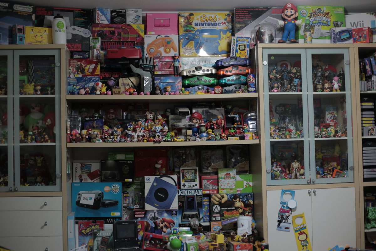 a wall of video game memorabilia