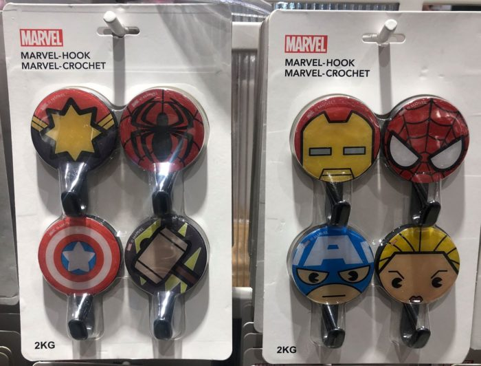 marvel x miniso hook sets featuring captain america, iron man, spiderman, captain marvel