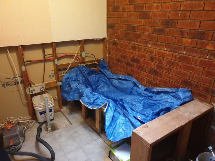 stripped bathroom renovation