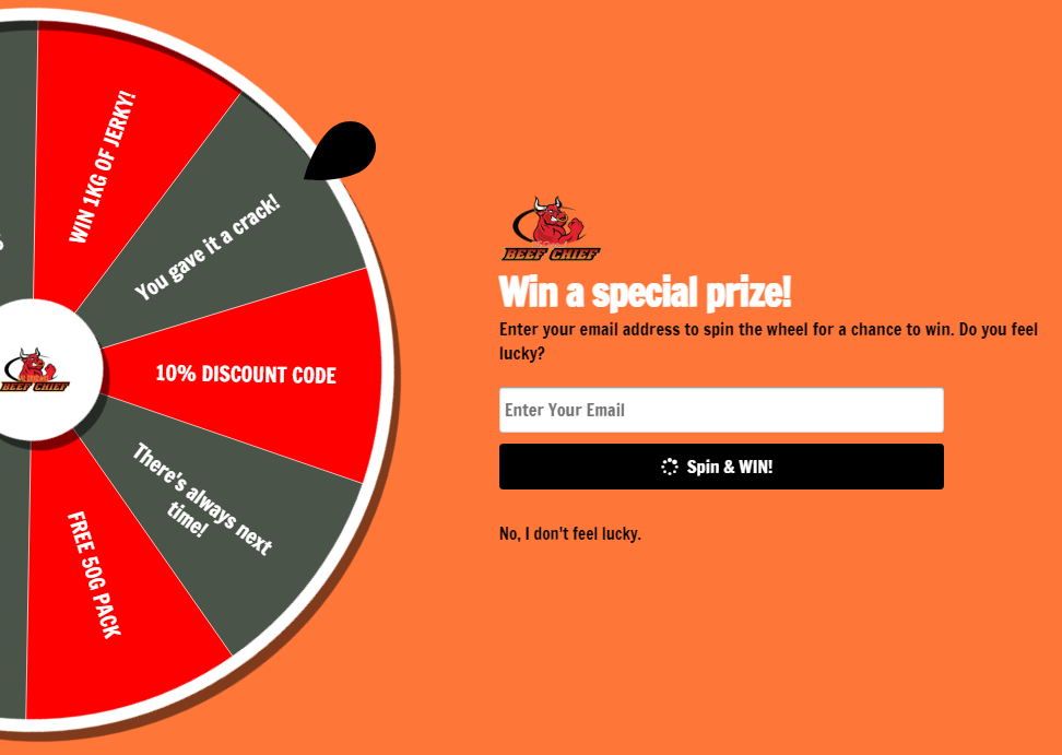 the original beef chief spin prize discount code